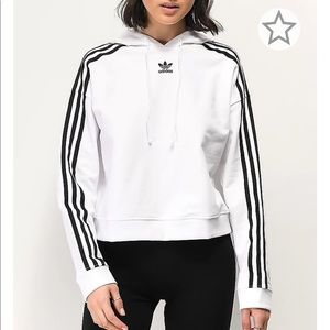 Adidas Cropped White Hoodie with Black Stripes, S